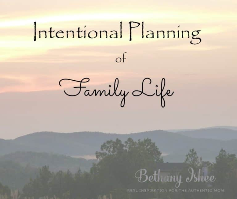 Intentional Planning of Family Life